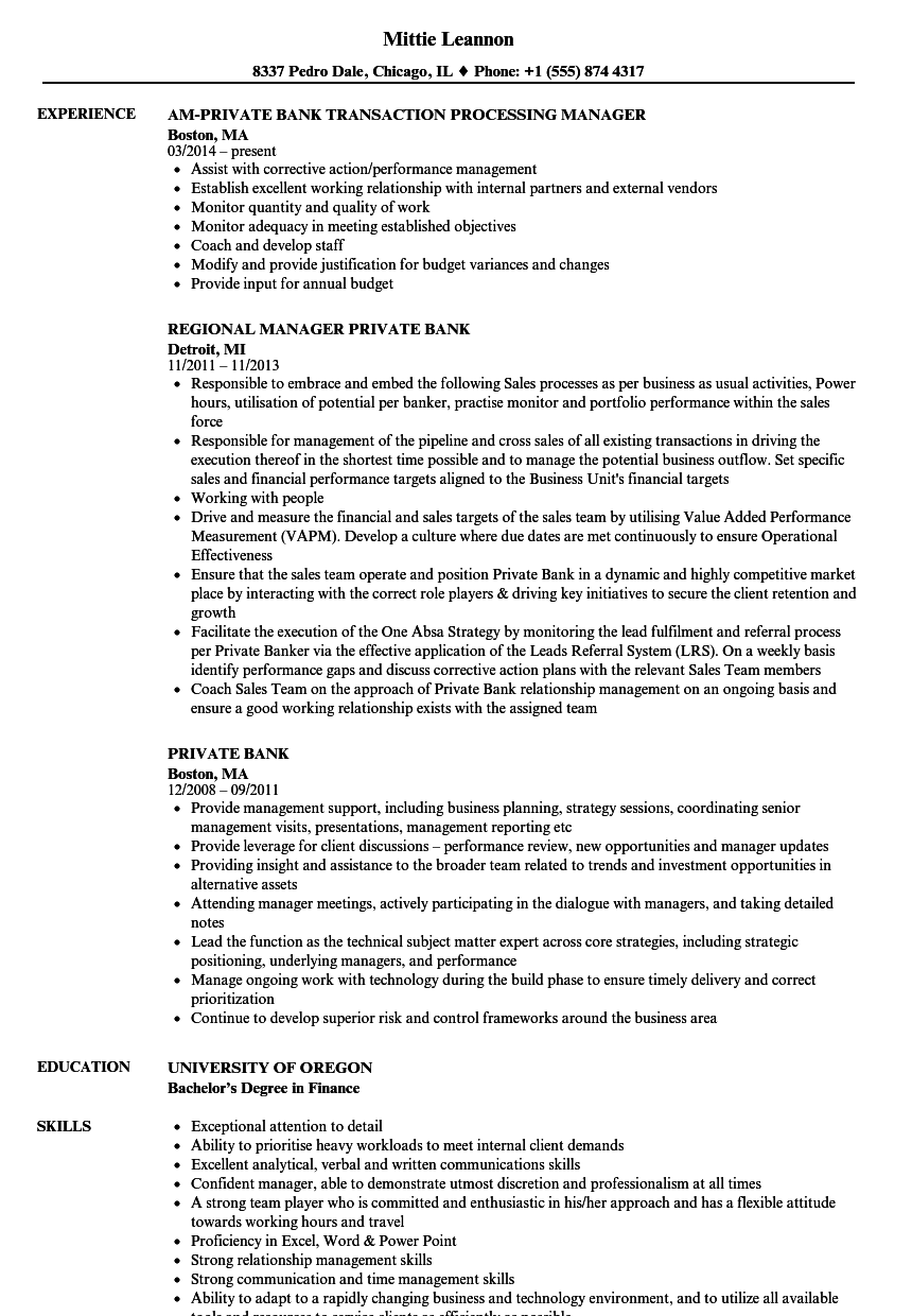 private bank resume samples