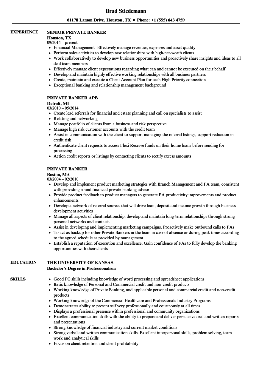 Marvelous Velvet Jobs Idea Private Banker Resume