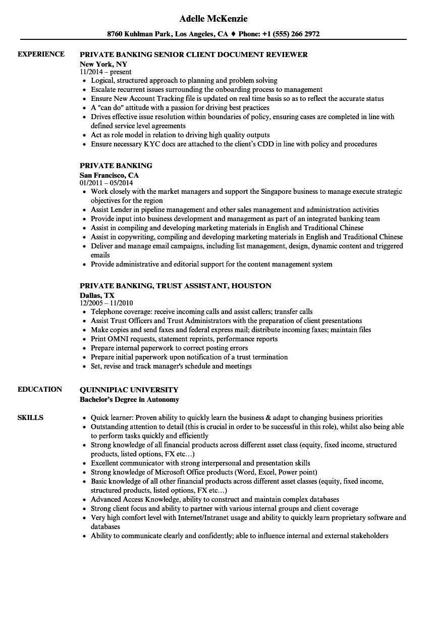 private banking resume samples