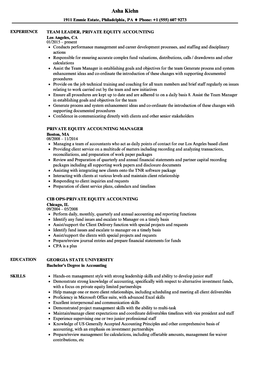 Private Equity Accounting Resume Samples | Velvet Jobs