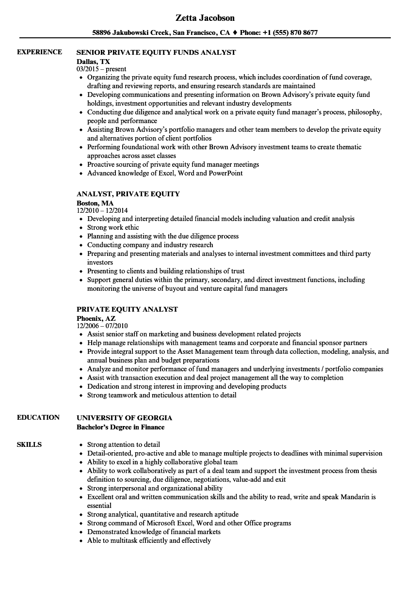 private equity analyst resume samples