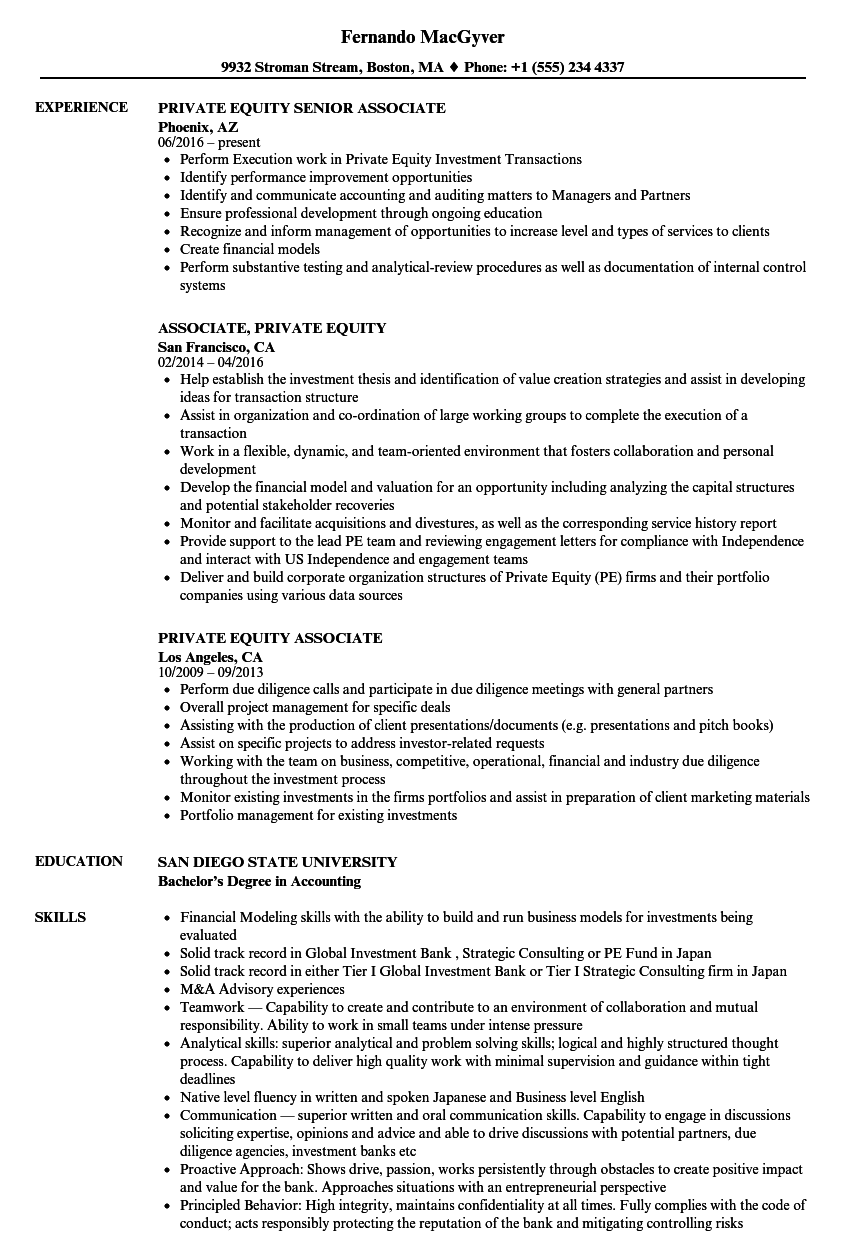 Private Equity Associate Resume Samples | Velvet Jobs