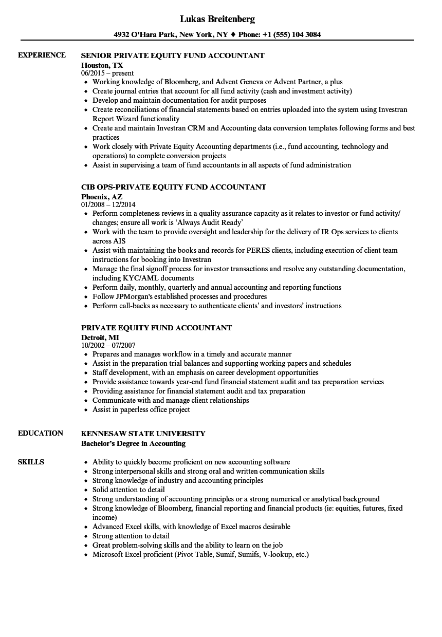 private equity fund accountant resume samples