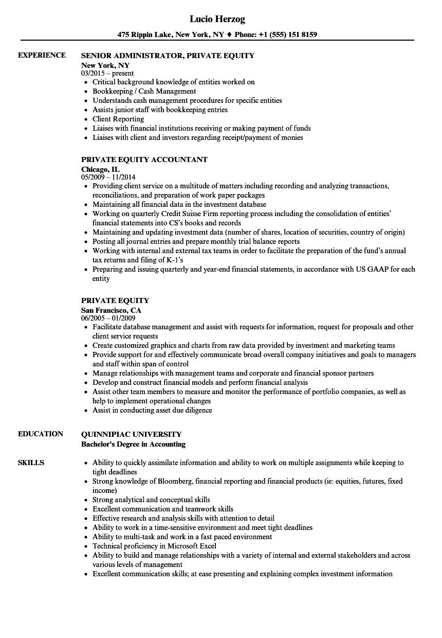 private equity resume samples