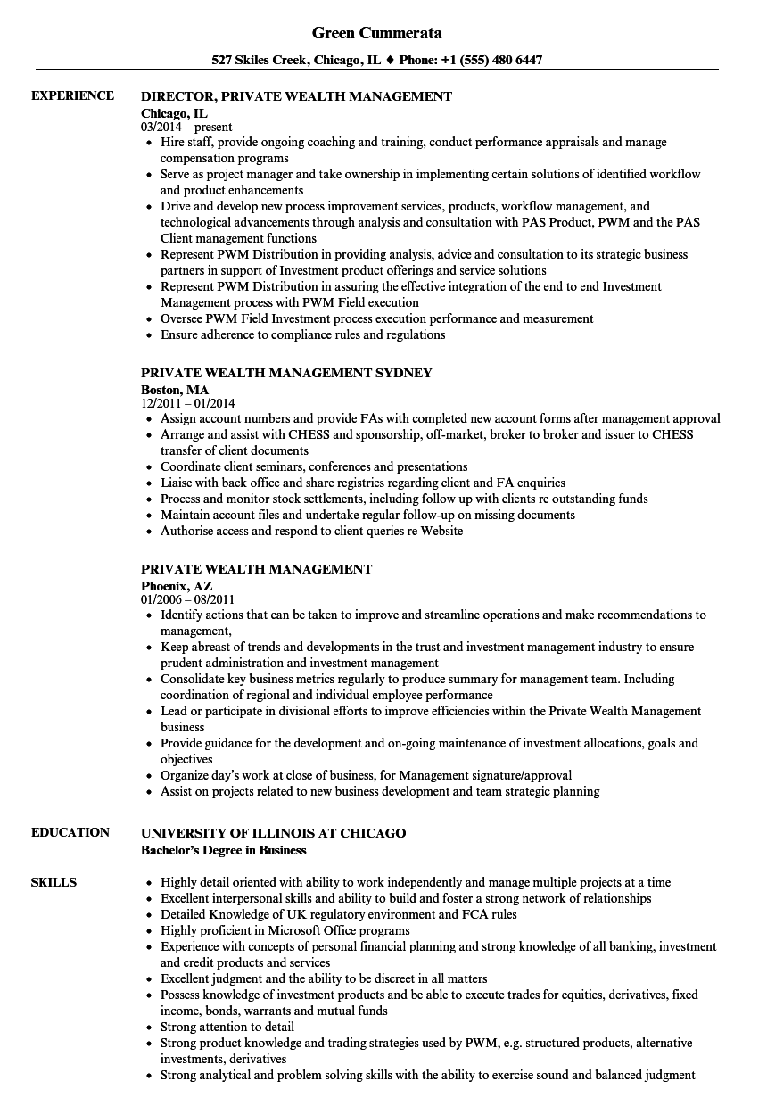 Private Wealth Management Resume Samples | Velvet Jobs