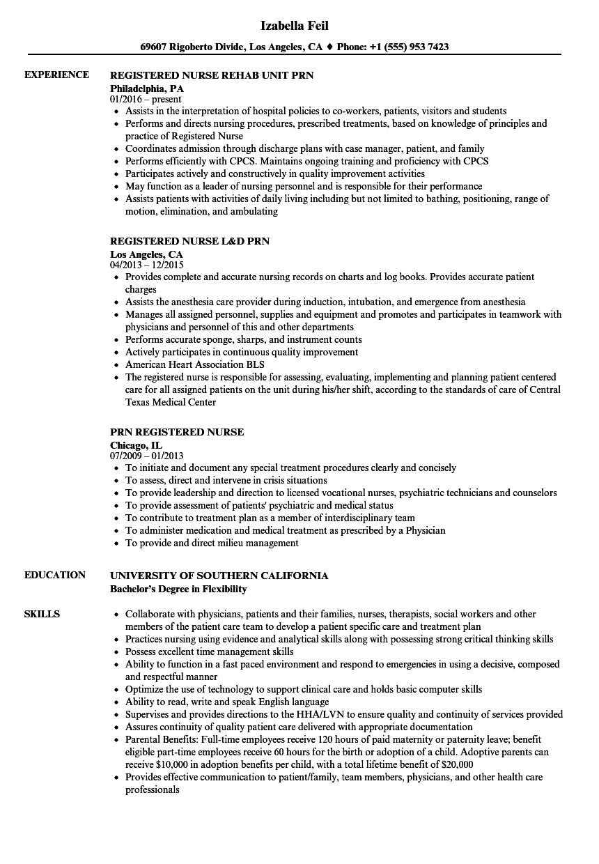 PRN Registered Nurse Resume Samples | Velvet Jobs