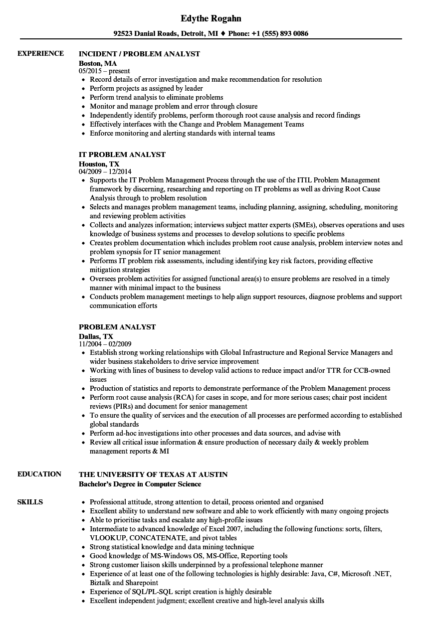 problem analyst resume samples velvet jobs