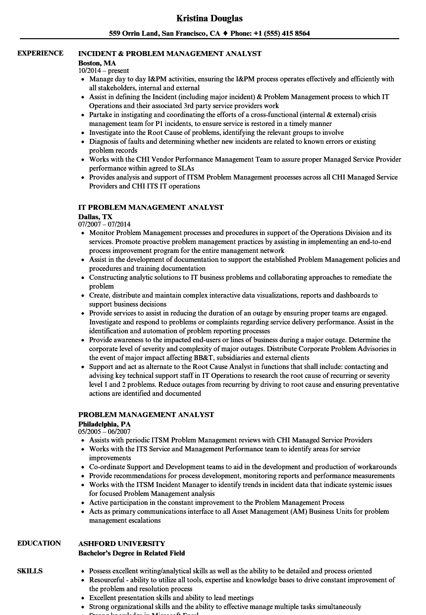 problem management analyst resume samples