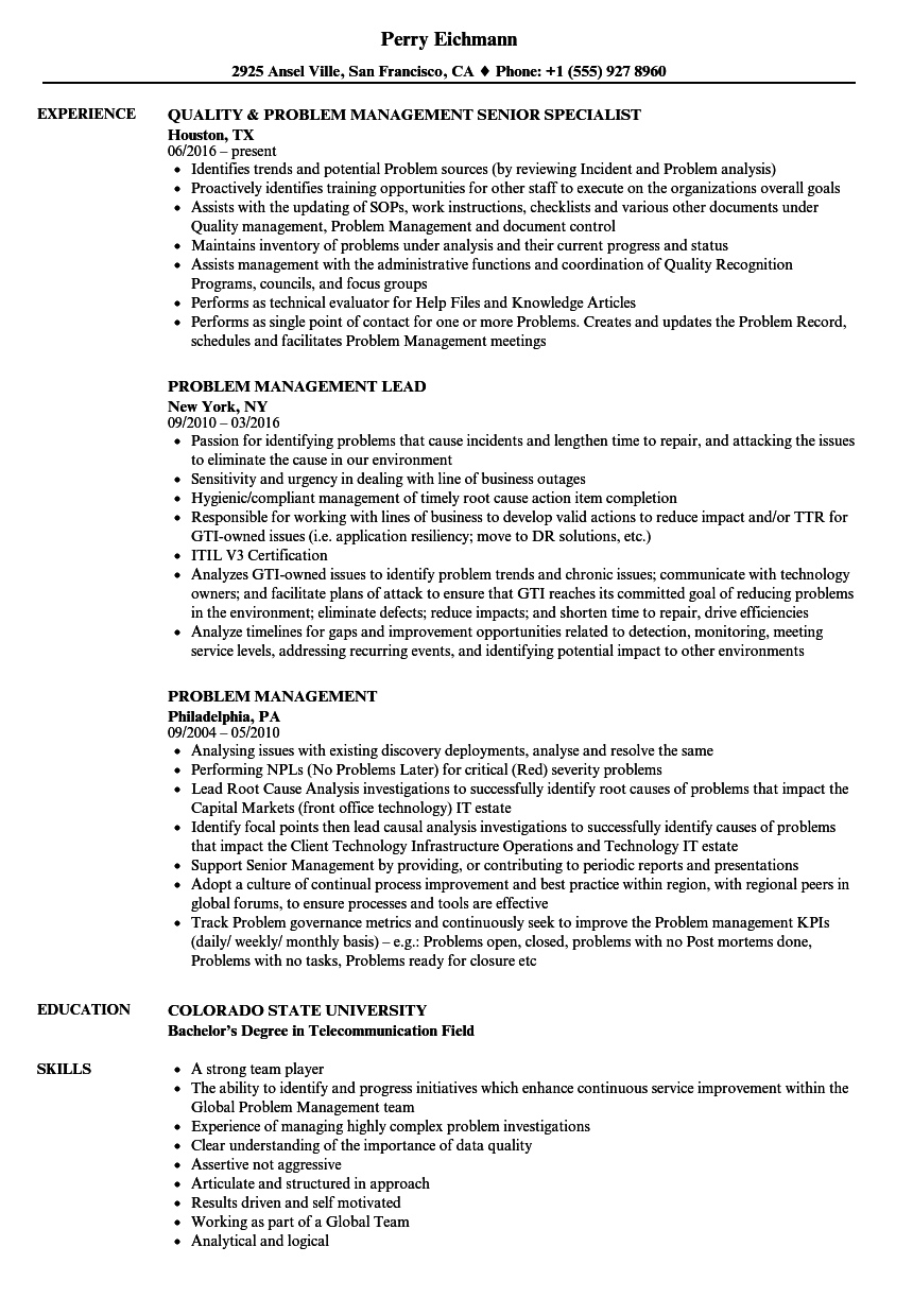 Problem Management Resume Samples | Velvet Jobs