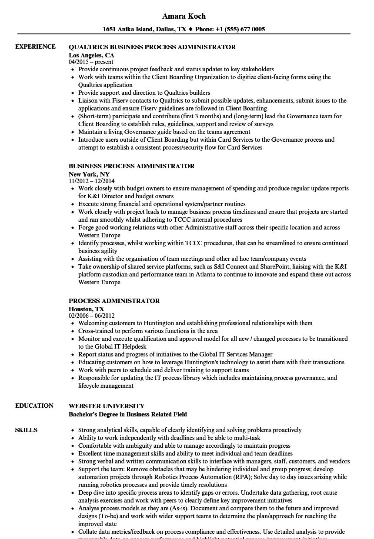 Process Administrator Resume Samples | Velvet Jobs