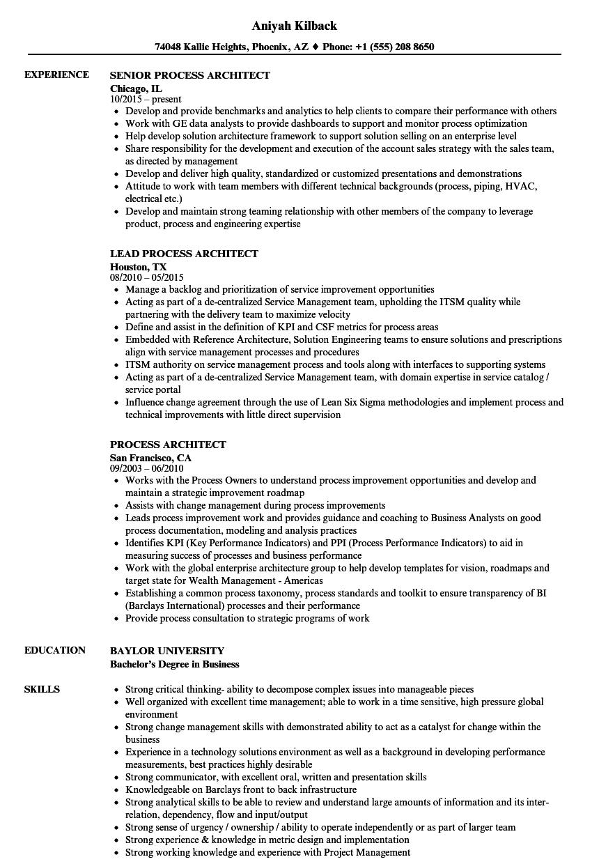 Process Architect Resume Samples Velvet Jobs