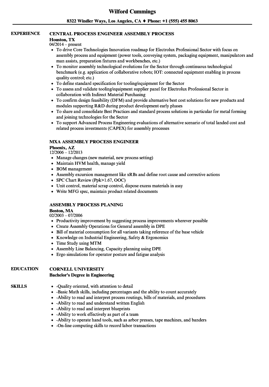 download process assembly resume sample as image file - Assembly Line Resume