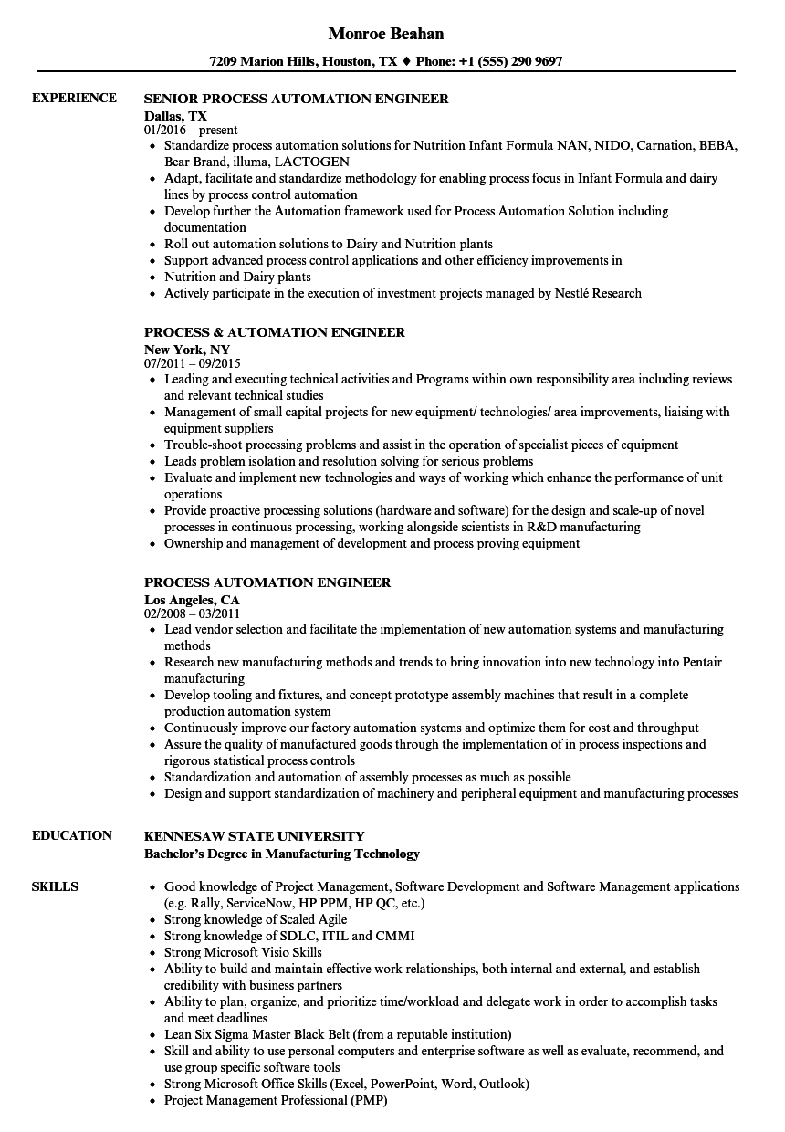 process automation engineer resume samples