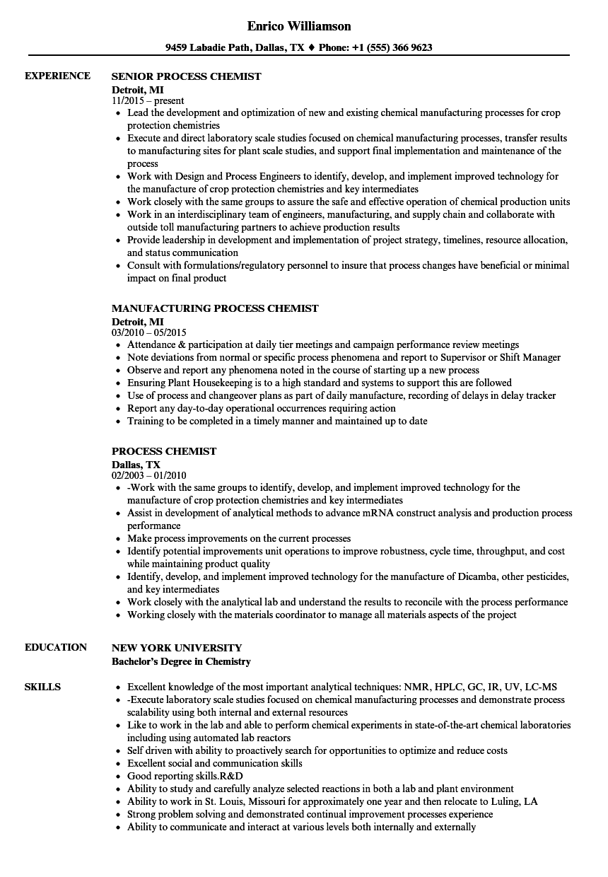 process chemist resume samples velvet jobs
