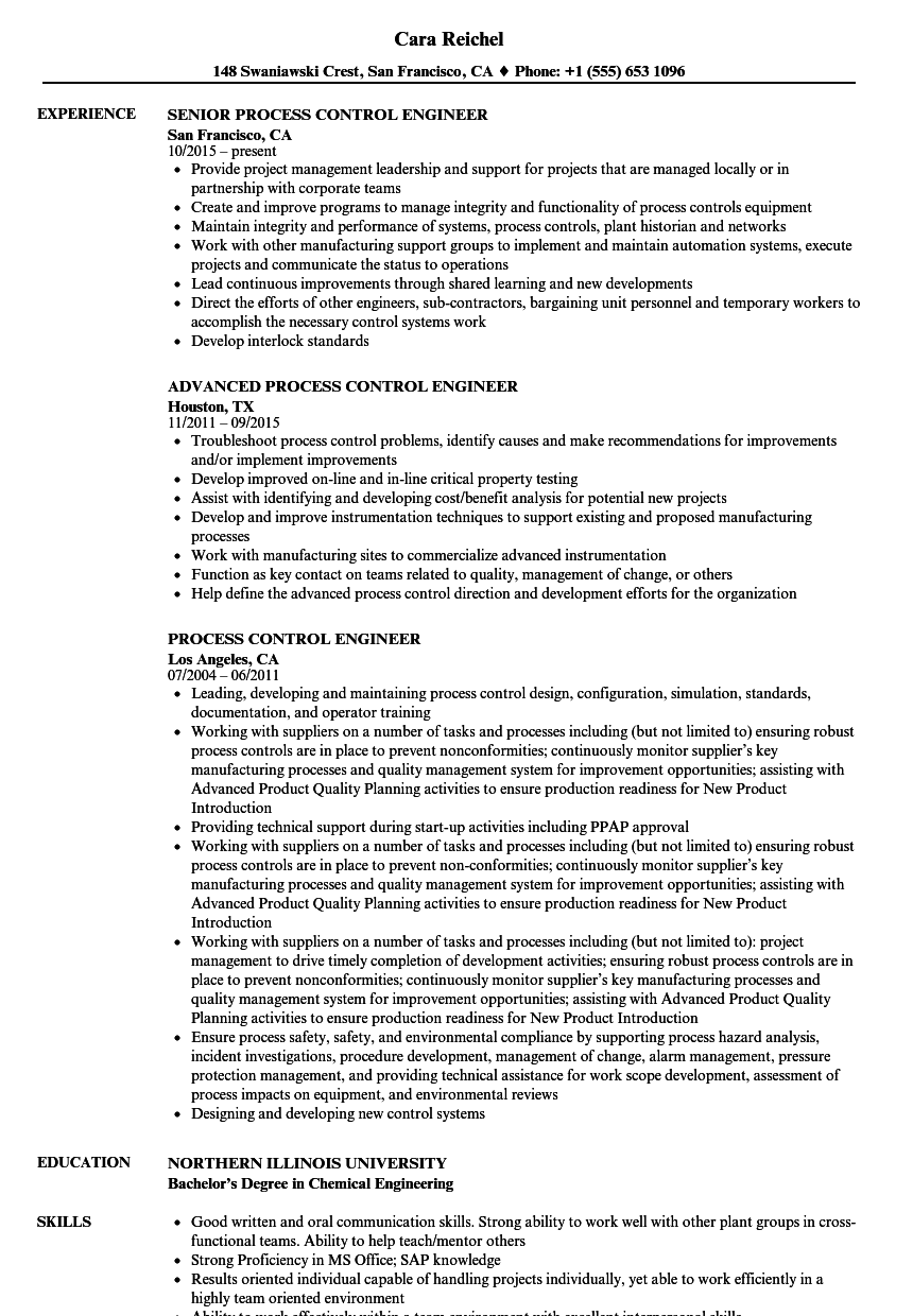 Process Control Engineer Resume Samples | Velvet Jobs
