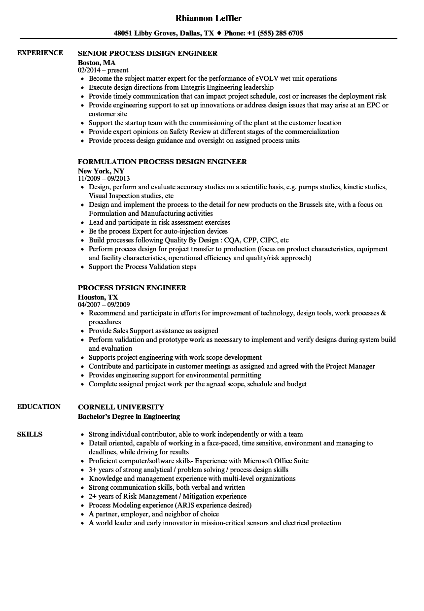 process design engineer resume samples