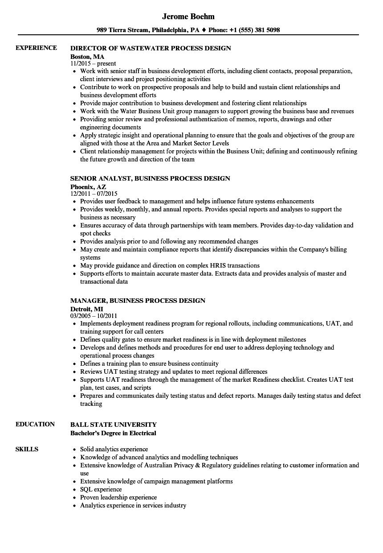 Process Design Resume Samples Velvet Jobs