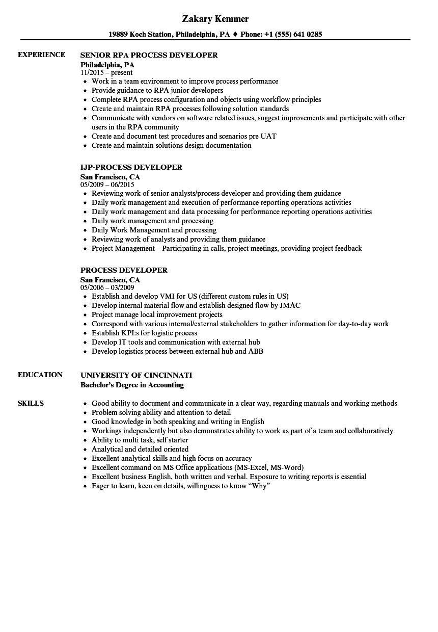 Process Developer Resume Samples | Velvet Jobs