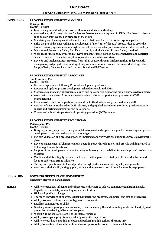 process development resume samples