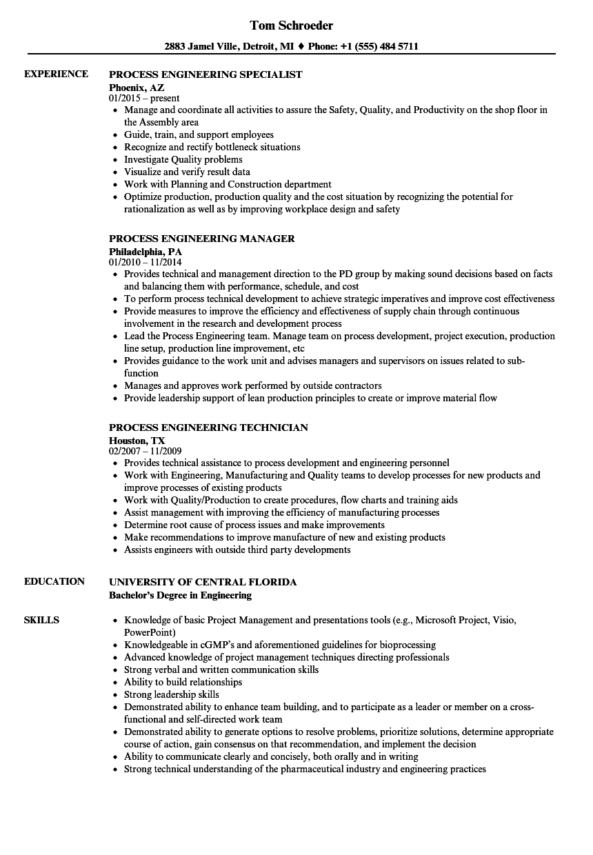 Process Engineering Resume Samples | Velvet Jobs