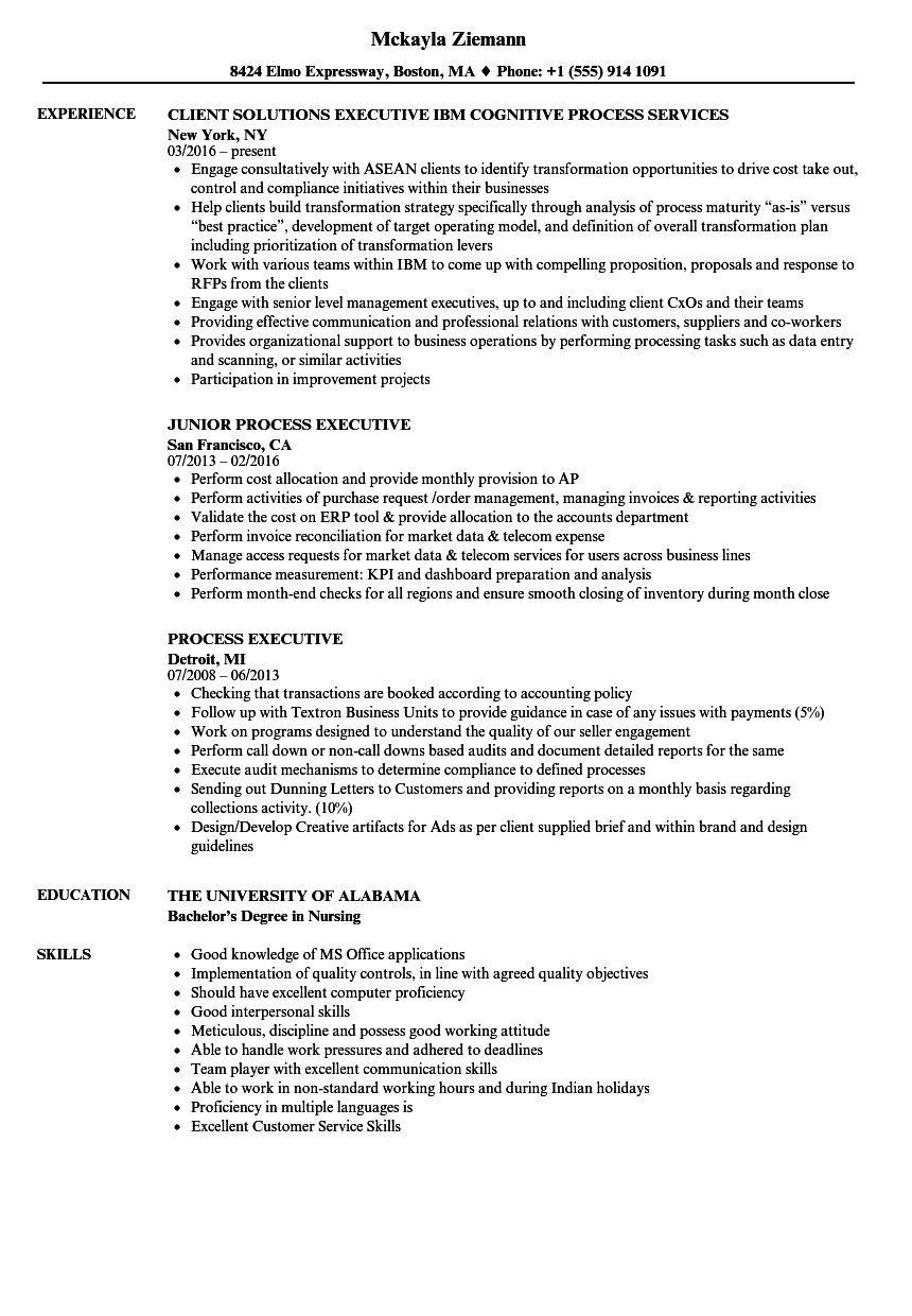 Process Executive Resume Samples Velvet Jobs