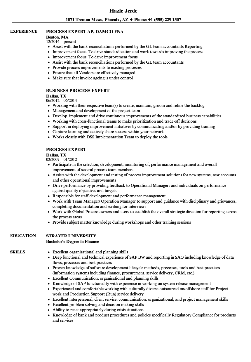 Process Expert Resume Samples | Velvet Jobs