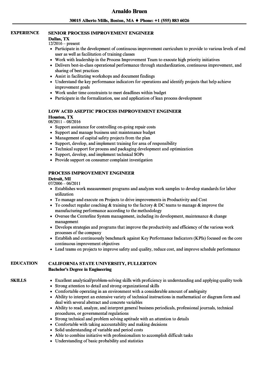 process improvement engineer resume samples