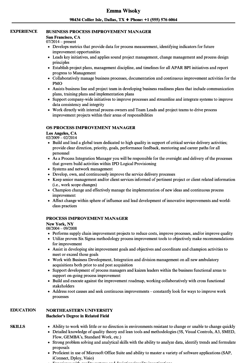 Process Improvement Manager Resume Samples | Velvet Jobs