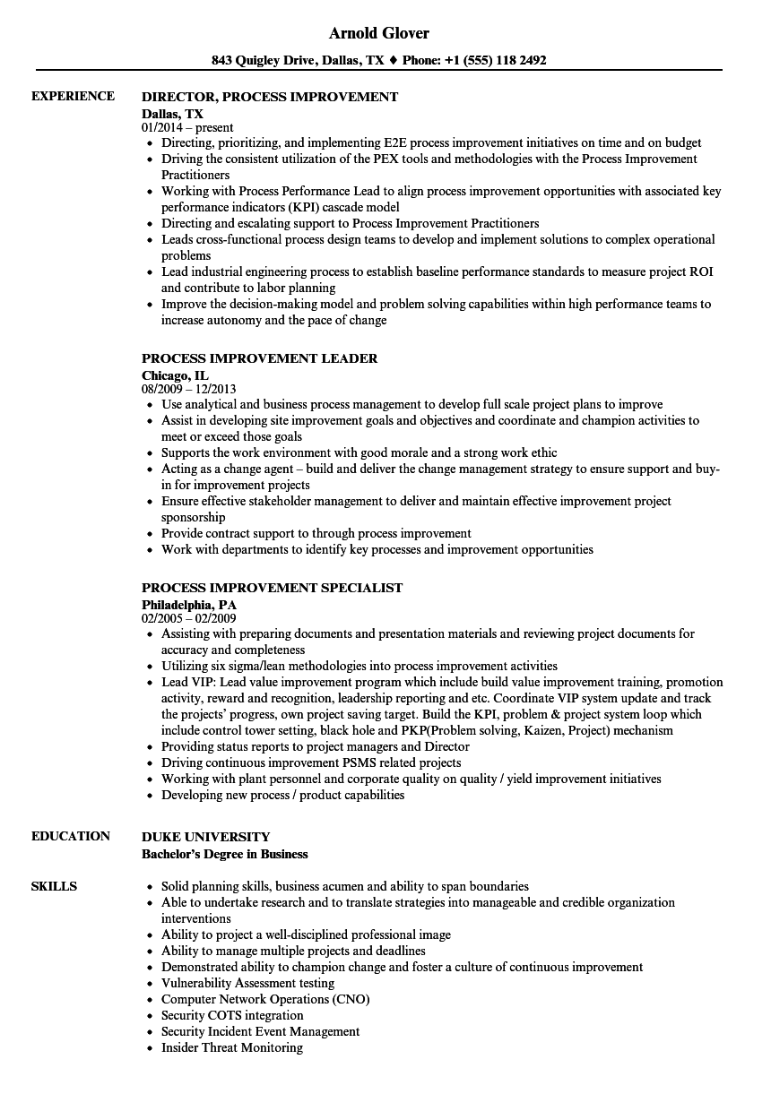 process improvement resume samples velvet jobs