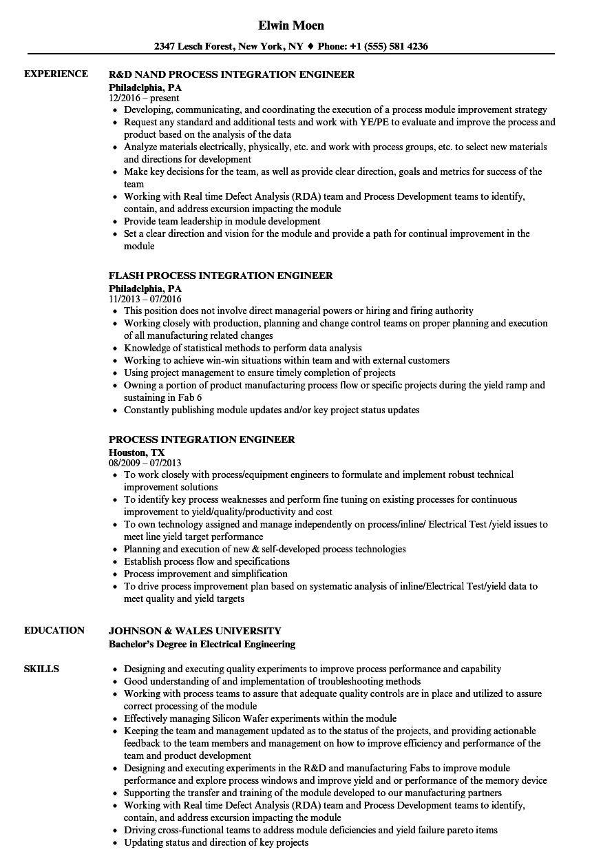 Process Integration Engineer Resume Samples | Velvet Jobs