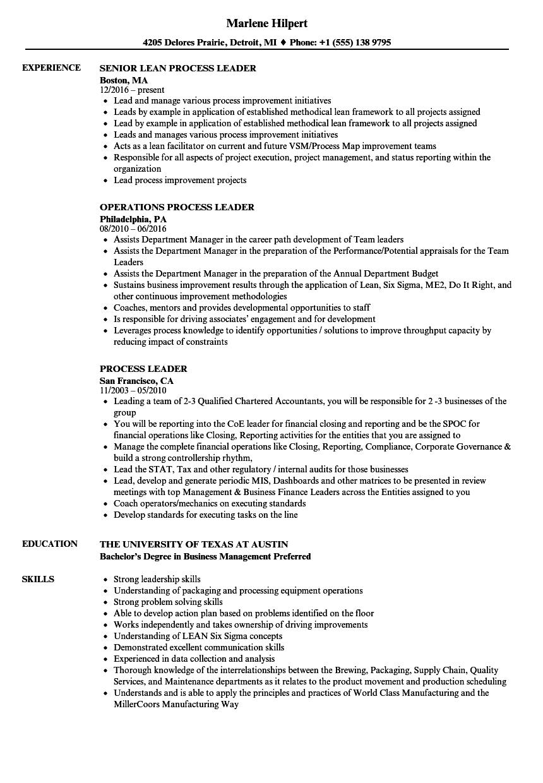 Process Leader Resume Samples Velvet Jobs