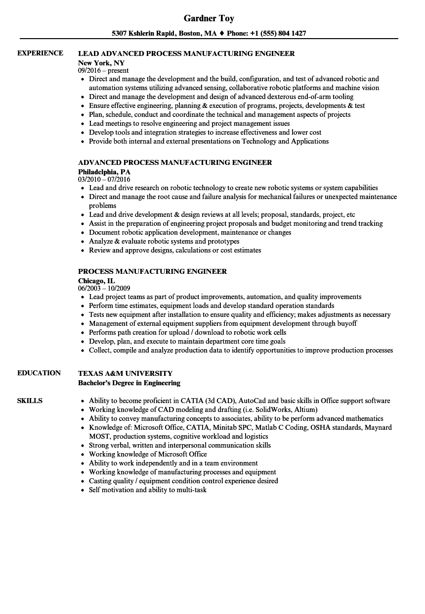 process manufacturing engineer resume samples