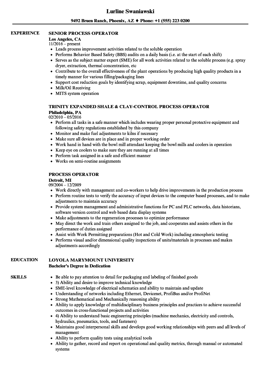 chemical plant operator resume essay resume best