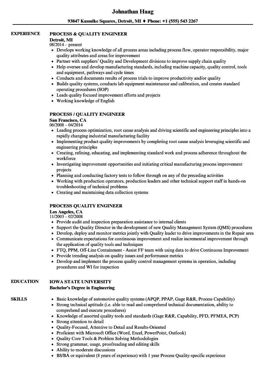 Process Quality Engineer Resume Samples Velvet Jobs