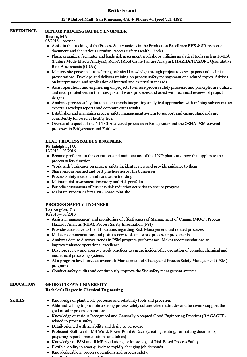 process safety engineer resume samples