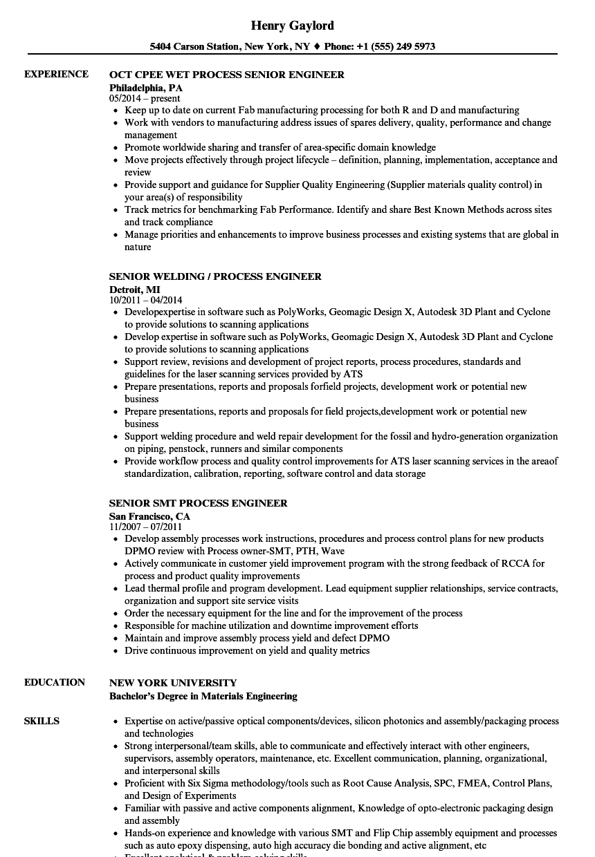 Process Senior Engineer Resume