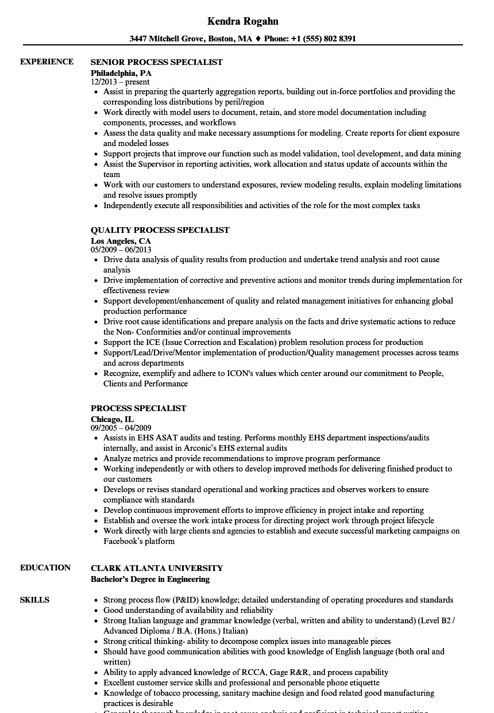 process specialist resume sles velvet