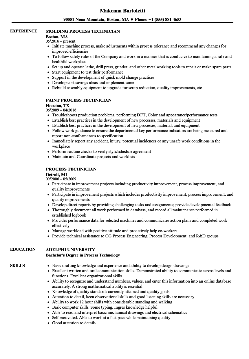 process technician resume samples