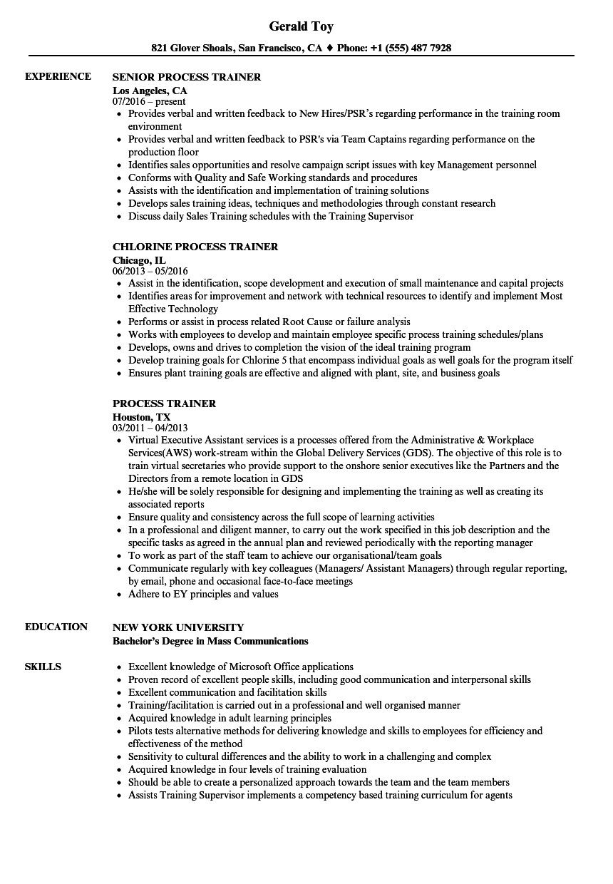 Process Trainer Resume Samples Velvet Jobs