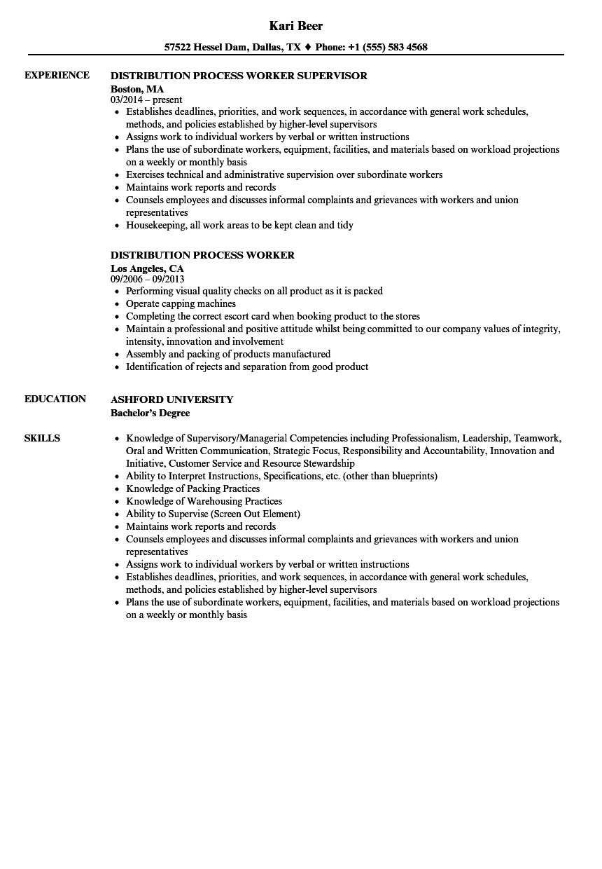 process worker resume samples