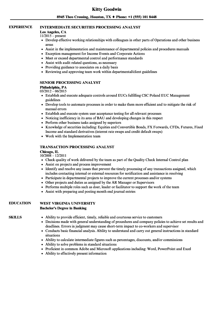 download processing analyst resume sample as image file