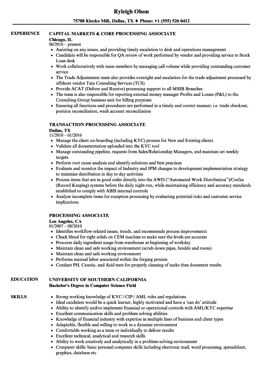 Processing Associate Resume Samples   Velvet Jobs