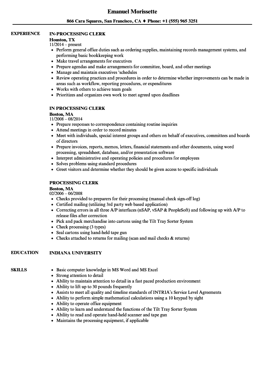 processing clerk resume samples