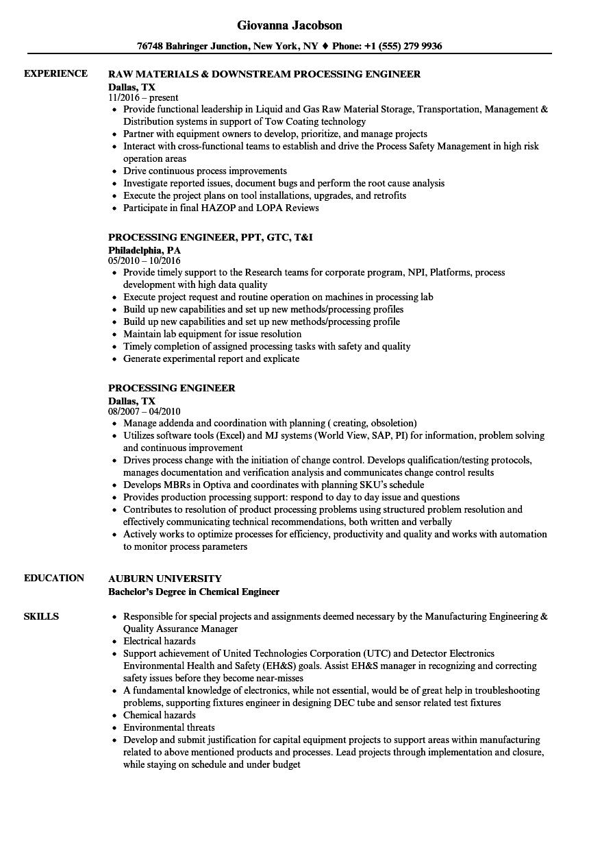 Processing Engineer Resume Samples Velvet Jobs