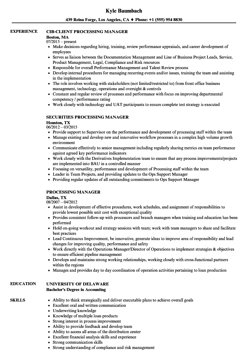 processing manager resume samples
