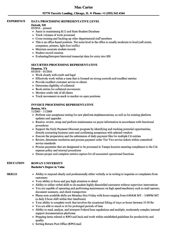 download processing representative resume sample as image file - Data Processor Resume