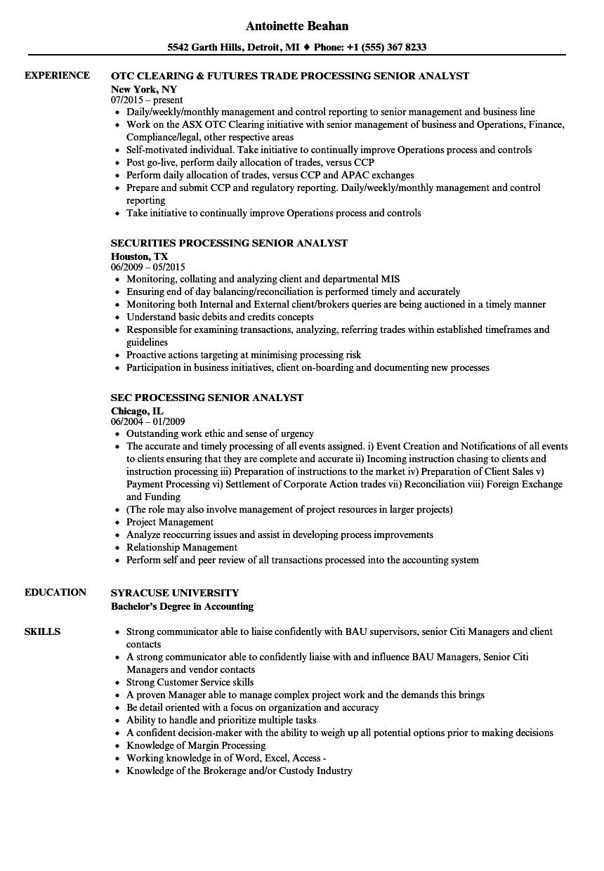 processing senior analyst resume samples