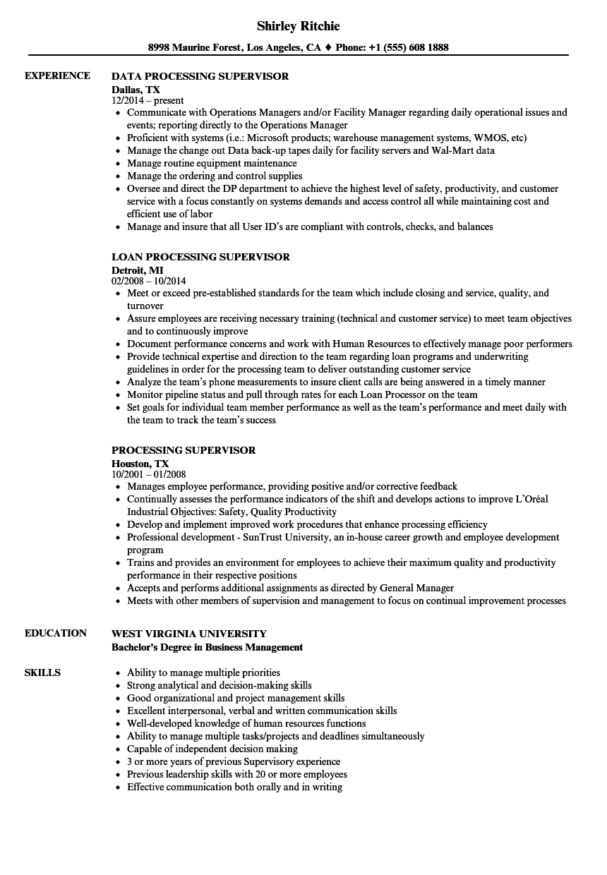 processing supervisor resume samples