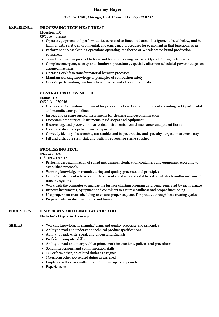 processing tech resume samples