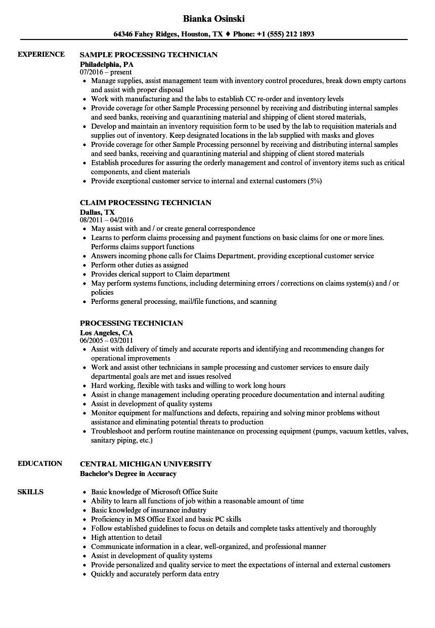 processing technician resume samples